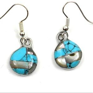 Jewelry - MY FAVES!!: Turquoise/abalone:silver earrings.